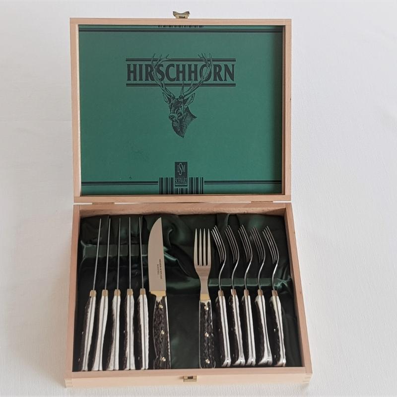 Messerkassette 12 Stück Hirschhorn